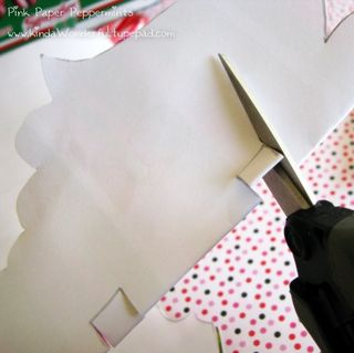 Cut slits for the peppermint candy cane paper angel