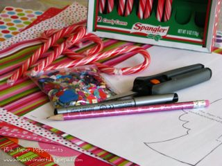 Supplies needed for the peppermint candy cane paper angel