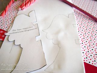 Trace pattern again for for the peppermint candy cane paper angel