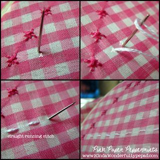 How to make a straight running stitch in Chicken Scratch Embroidery.