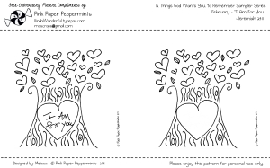 Free February Embroidery Pattern Heart Tree