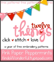 12 Things - A year of free embroidery patterns via Pink Paper Peppermints @KindaWonderful.typepad.com #embroidery #pattern #free #crafty