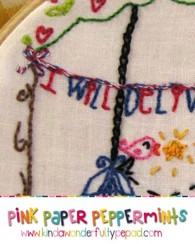 July free embroidery pattern bird cage chain