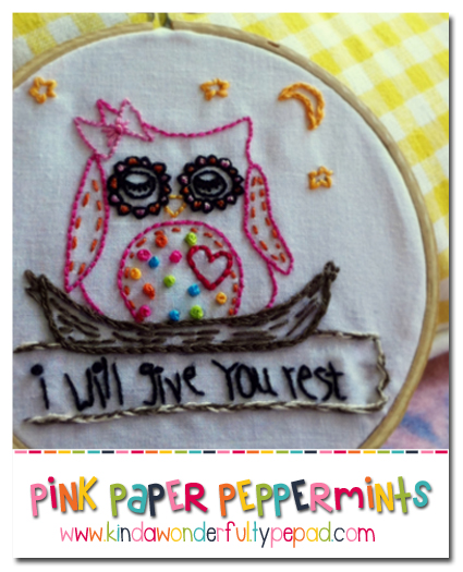 Free embroidery pattern August Sleepy Owl