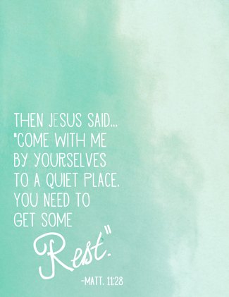 Free Printable Scripture Art Poster - Rest - at Pink Paper Peppermints.com