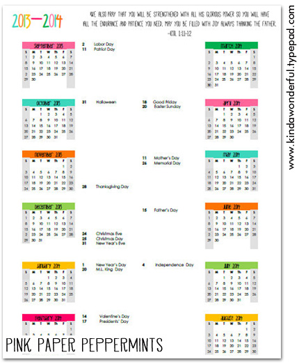 Free Printable 2013-2014 Academic Calendar download from Pink Paper Peppermints.com perfect for home or school