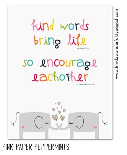 Kind Words Bring Life-Free Printable Scripture Art Poster at Pink Paper Peppermints