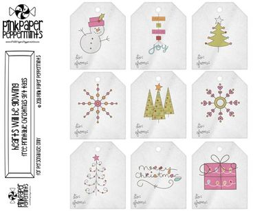Free Printable Christmas gift tags at  The Pink Paper Peppermints blog.
