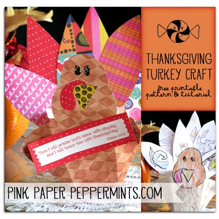 Free Printable Turkey Pattern and Tutorial via @melissao from Pink Paper Peppermints.com