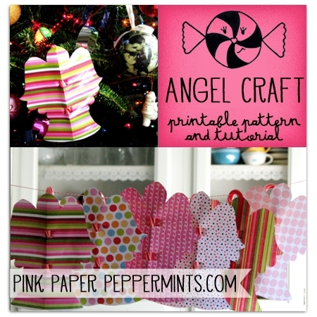 Christmas Candy Cane Angel Craft-printable pattern and tutorial via @melissao from Pink Paper Peppermints.com