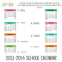 2013-2014 Printable Academic Calendar