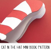 Cat in the Hat DIY Mini Book Printable Pattern and Tutorial