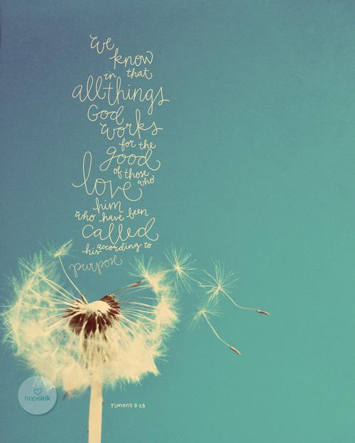 Beautiful scripture art print of Romans 8:28 by Emily at HopeInkShop.com