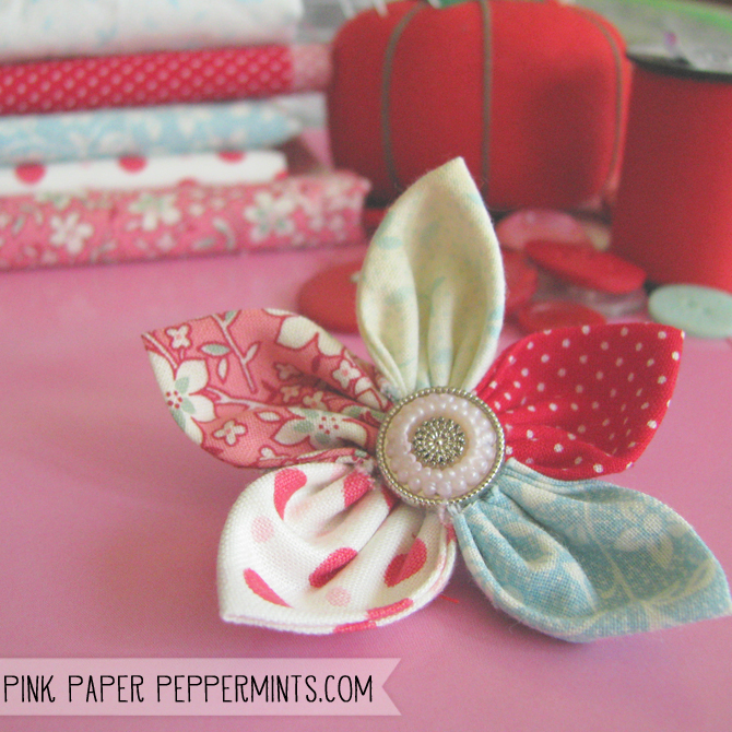 31 crafty flowers day five fabric flowers pink paper peppermints x super quick easy diy fabric flower tutorial via melissa pink paper peppermints mightylinksfo