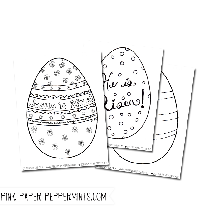 Free Printable Jesus is Alive!  Easter Egg Coloring Pages.