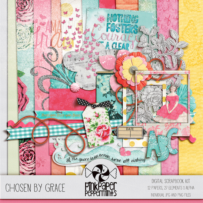 Chosen by Grace, Free Faith Inspired Digital Art Kit!  Perfect for digi scrapping and bible journaling.