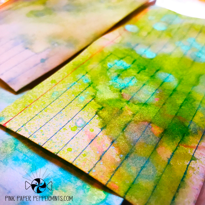 Color dyed index cards for tip-ins in my art journal!  Fun tutorial with a freebie too!