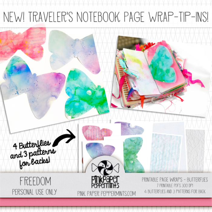 Page wraps, new printable shaped inserts for traverler's notebooks, fun!