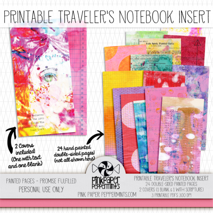 Printable Traveler's Notebook Insert with scripture!  Perfect for bible journaling in a TN.