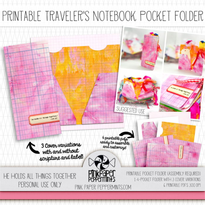 "Pretty printable traveler's notebook pocket folder!  Has bible verse for faith art journals.  ""He holds all things together."" -Hebrews 1:3"