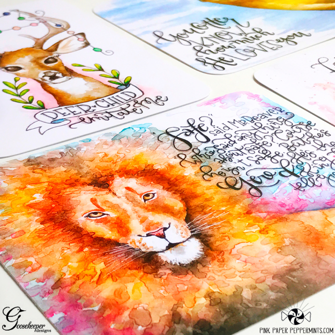 Stunning Watercolor Bible Journaling cards by Goosekeeper Designs!