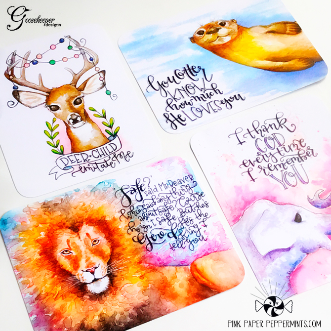 Beautiful watercolor journal cards by Goosekeeper Designs!
