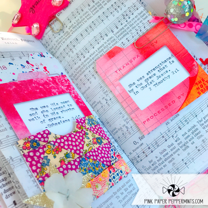 Printable Bible Journaling pockets made from vintage hand-sewn quilt pieces!