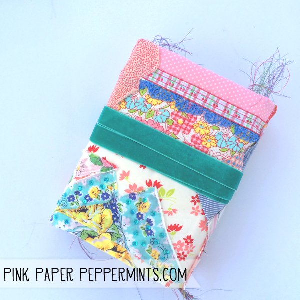 This handmade, fabric planner is part scrapbook, part journal and uses hybrid pages, vintage items, fabric and lace scraps and more.  Links to free downloads included!  from Melissa at PinkPaperPeppermints.com