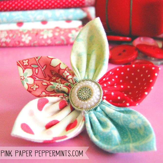 31 crafty flowers day five fabric flowers pink paper peppermints super quick easy diy fabric flower tutorial via melissa pink paper peppermints mightylinksfo