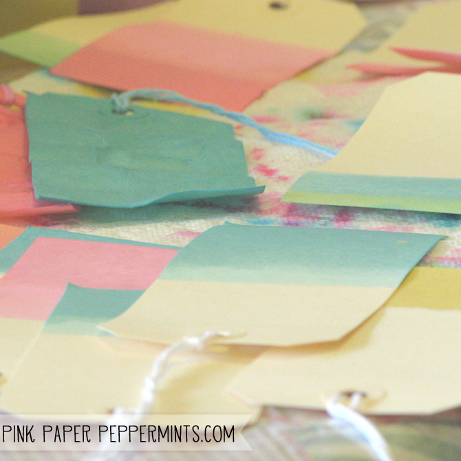 DIY Recycle Easter Egg Dye project to make ombre tags!