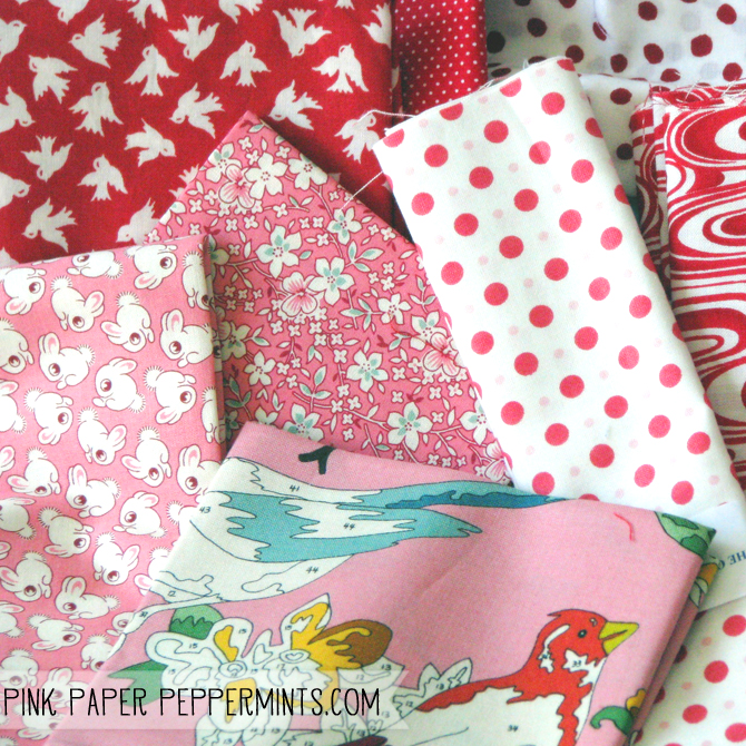 Pretty pink fabric fat quarters.  Report on the quilt show by Melissa at Pink Paper Peppermints blog