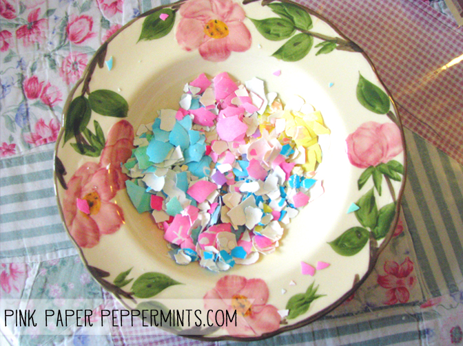 Fun and Easy way to recycle your leftover Easter eggs!  Recycled Easter Egg Shell Mosaic craft tuorial and pattern!