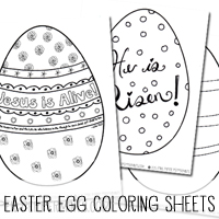 Jesus is Alive! Free Printable Easter Egg Coloring Sheets for home, church outreach or Suanday school.