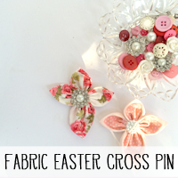 DIY Fabric Easter Cross Brooch.  A perfect Easter gift that can be made in about an hour with just some fabric scraps, a button and needle & thread!