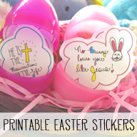 Free Printable Christian Easter Stickers.  Perfect for Easter Baskets and Easter Eggs or for Bible Journaling!