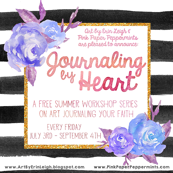 Free Summer Workshop on Art Journaling your faith. Tips and ideas for Bible Journaling and documenting your spiritual journey in an art journal. What a fun way to spend the summer!