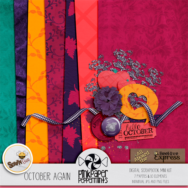 Pretty Fall themed mini kit for digital scrapbooking and art journaling from Pink Paper Peppermints! Click on the image to download!