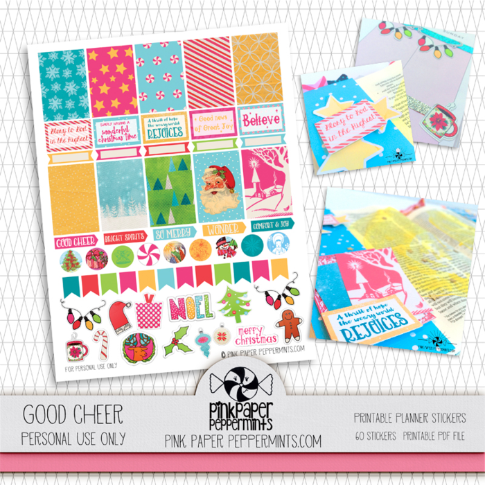 Good Cheer printable planner stickers by Pink Paper Peppermints