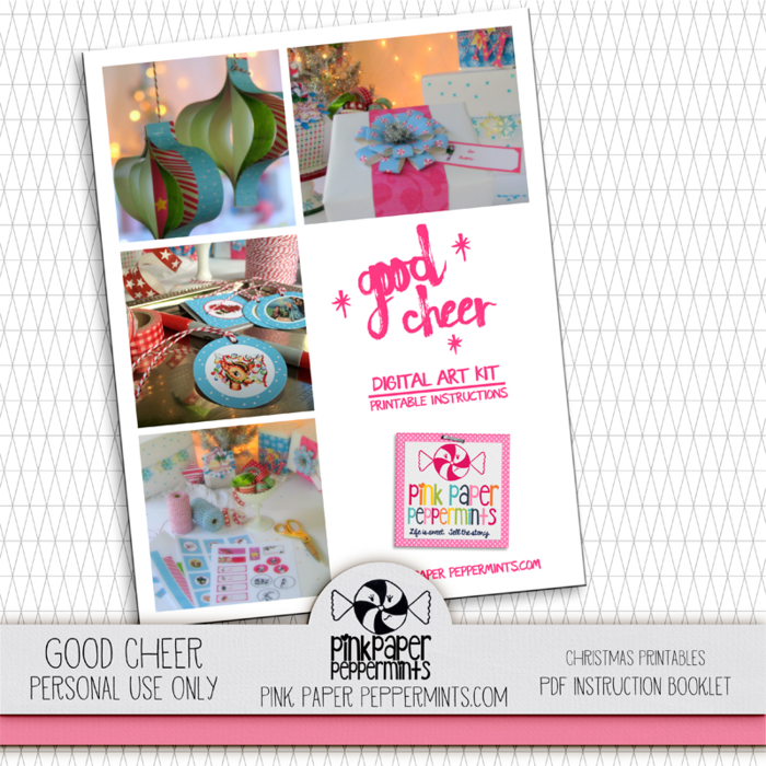 Good Cheer digital scrapbooking bundle.  Lots of Christmas goodies, printables, DIY decorations, stickers, tags and a scrapbooking kit!  Perfect for Daily December, project life or decorating your december planner pages. from Melissa at Pink Paper Peppermints.