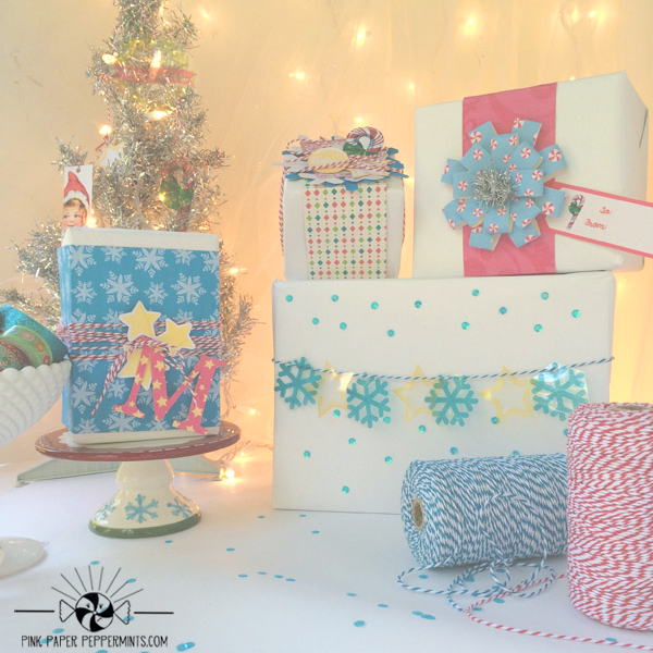 Detailed tutorial on how to use digital scrapbook supplies to create pretty, wrapped, holiday packages and Christmas ornaments! Lots of photos and free printables! by Pink Paper Peppermints for Digi Scrap HQ