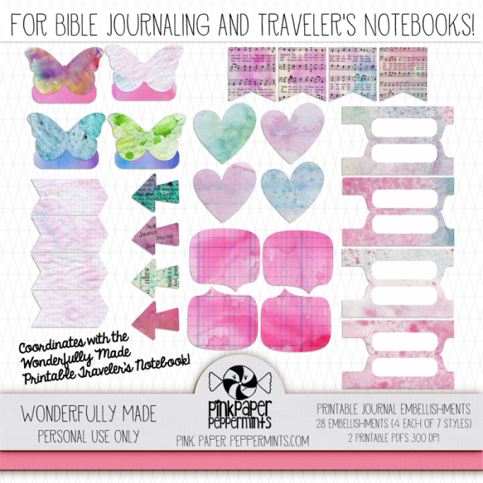Printable Bible Journaling stickers and tabs for faith art journals and traveler's notebooks!!