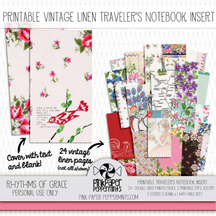 Printable Traveler's Notebook Insert made from vintage linens!!