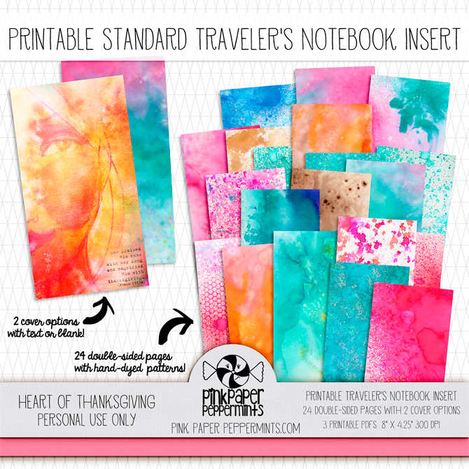 Printable Thanksgiving traveler's notebook insert for gratitude journaling!