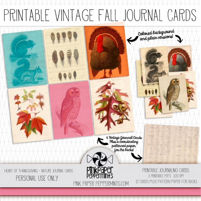 Printable Thanksgiving Journal Cards