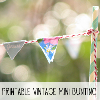 Free Printable Vintage Mini Bunting from Melissa at PinkPaperPeppermints.com