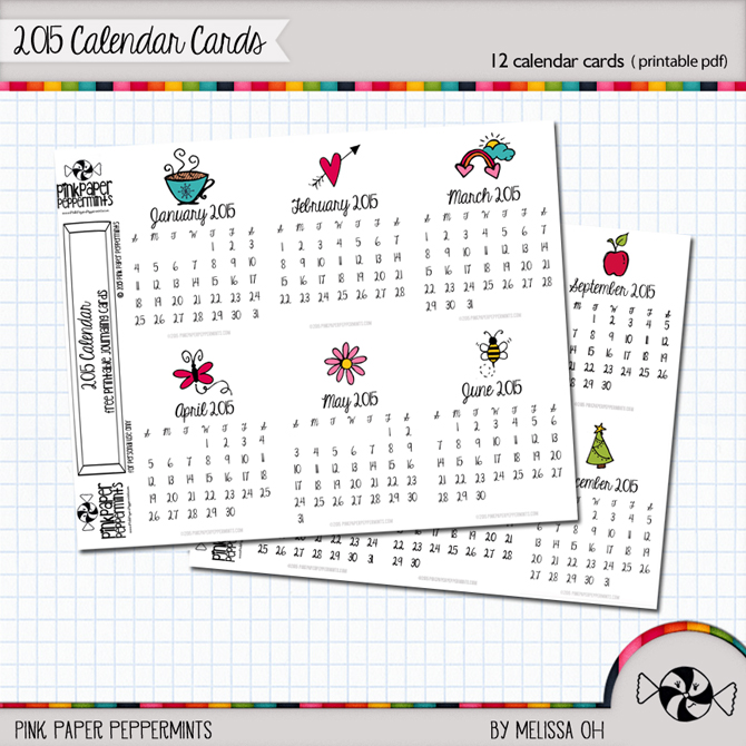 Free Printable 2015 Calendar Journaling Cards! Perfect for Pocket Scrapbooking from Melissa @ PinkPaperPeppermints.com