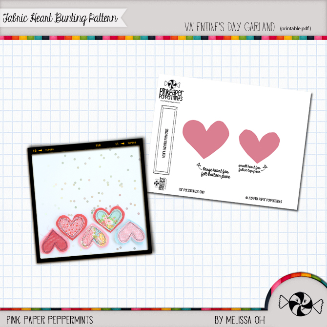 Free Printable Pattern to Sew a Fabric Heart Bunting from Melissa at PinkPaperPeppermints.com