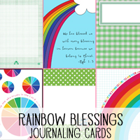 Rainbow Blessings, a set of free, printable journaling cards.  Perfect for scrapbooking, project life or bible journaling and illustrated faith!