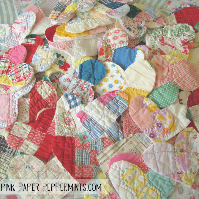 Vintage cutter quilt hearts, report on the quilt show by Melissa at Pink Paper Peppermints blog