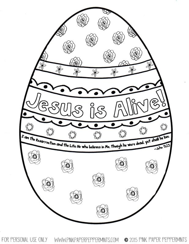 Free Jesus is Alive Printable Easter Egg Coloring Sheet  John 11:25